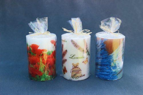 """Žvakė """"Cilindras"""" diametras 100, aukštis 150 mm su dekupažu, pakuota."""