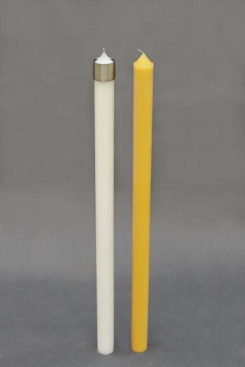 """geltonos arba baltos spalvos žvakė """"kūginis cilindras"""" su žvakių antgaliu, diametras 50 mm, aukštis 950 mm. Pakuotėje 4 vnt."""