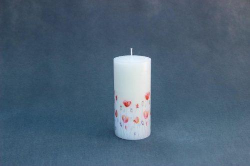 """Žvakė """"Cilindras"""" LED, keičiantis spalvas, dekoruotas gėlėmis, pakuota."""