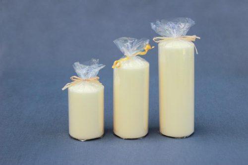 """Žvakė """"Cilindras"""", diametras 65 mm, aukščiai 100 mm, 140 mm ir 180 mm, kreminės spalvos, šampaninės."""