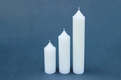"trys žvakės ""Kūginis cilindras"", diametras 50 mm, aukštis 150 mm, 200 mm, 290 mm, 450 mm."