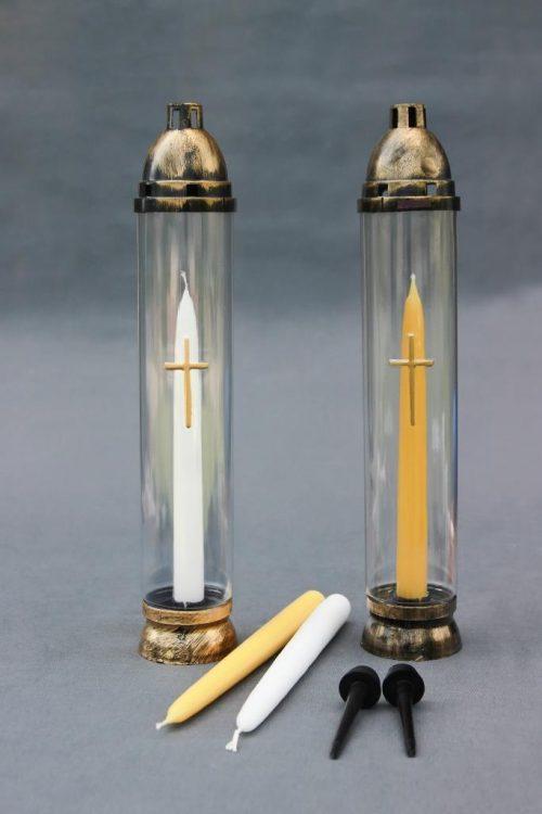 """Baltos arba geltonos spalvos Kapų žvakė """"Senoji tradicija"""", primena senąsias tradicijas, žvakė daugkartinio naudojimo (pakeitimui naudojama Žvakė """"Tradicinė+)."""