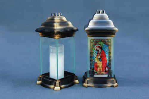 Stikliniai žibintai dviejų dydžiu su vitražu ir be vitražo, pakuotėje 6 vnt. arba 12 vnt.