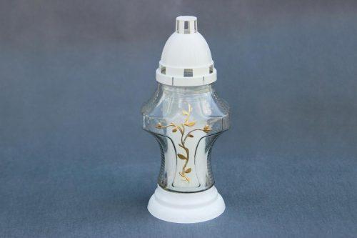 baltos arba juodos spalvos kapų žvakė I-56 rankomis dekoruota auksinėmis gėlėmis, su įdėklu 47/58/140, dega 36 val., pakuotėje 8 vnt.