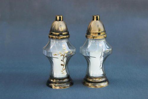 baltos arba juodos spalvos kapų žvakė I-56, su įdėklu 47/58/140, dega 36 val., pakuotėje 8 vnt.