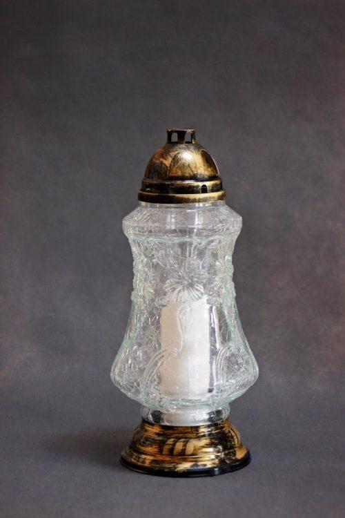Skaldyto stiklo žvakė S-420 su įdėklu 70/300, dega 90 val., dėžėje 6 vnt.