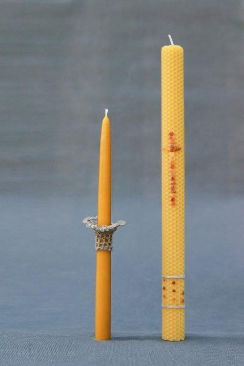Natūralaus vaško korinė krikšto žvakė, tradicinė 32 vaškinė su dėžute