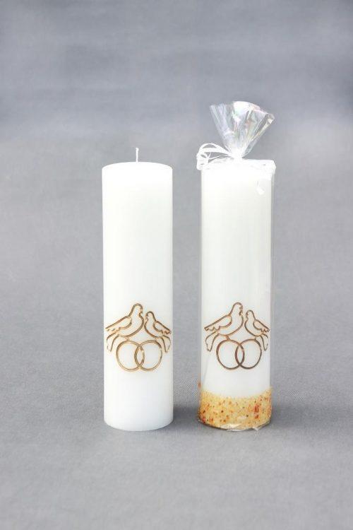 """Vestuvinė žvakė """"Cilindras"""" 70/250, dekoruota gintaru, balandžiais ir žiedais."""