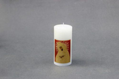 """Religinė žvakė """"Cilindras"""" su Aušros vartų paveikslu."""