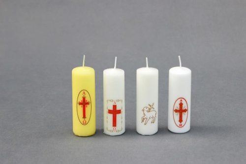 žvakės su religine simbolika Šv. Velykoms, Kalėdoms ir kitoms progomis, cilindras 40/120.