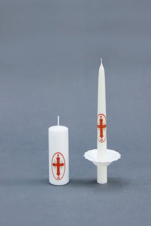 žvakės su religine simbolika Šv. Velykoms, Kalėdoms ir kitoms progomis. Tradicinė žvakė su liktorėliu ir cilindras 40/120.