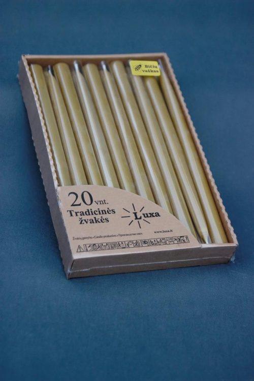 Natūralaus vaško žvakė 30 cm, supakuota atviroje dėžutėje po 20 vnt.