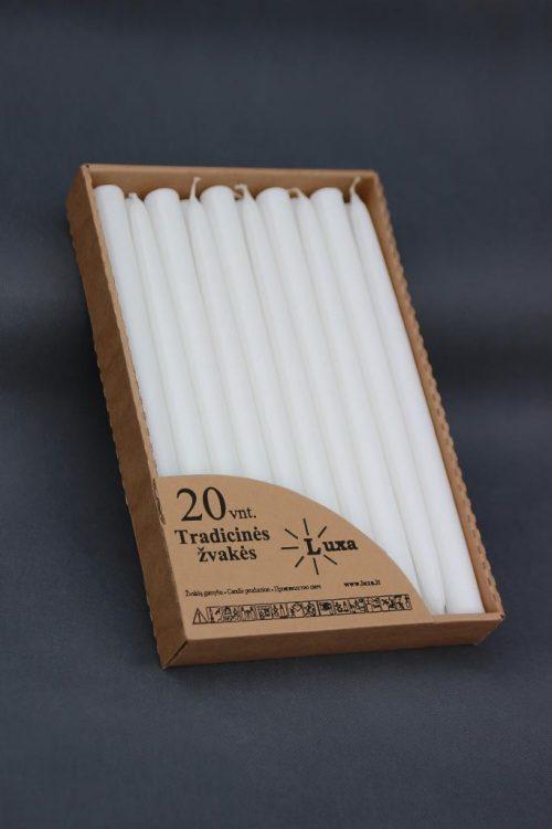 Tradicinė žvakė 300 mm, supakuota į atvirą dėžutę po 20 vnt, baltos, raudonos, mėlynos, bordo, kreminės ir kitų spalvų.